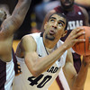Josh Scott of CU goes up on Aaron Clayborn of Texas Southern.<br /> Cliff Grassmick / November 27, 2012