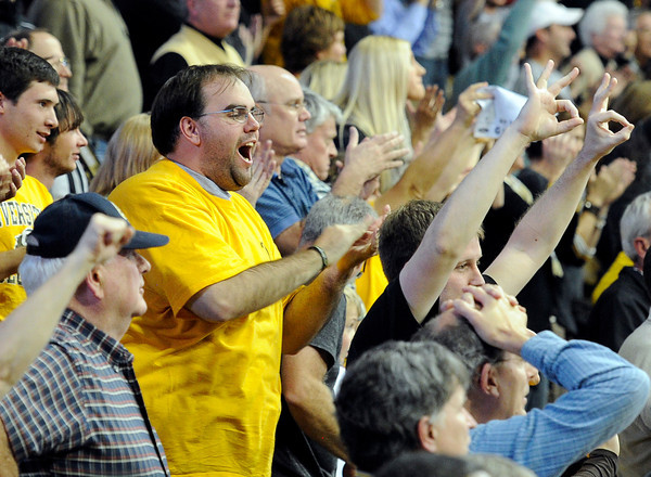 "University of Colorado graduate Bryce Stevenson cheers during a game against Texas Southern on Tuesday, Nov. 27, at the Coors Event Center on the CU campus in Boulder. For more photos of the game go to  <a href=""http://www.dailycamera.com"">http://www.dailycamera.com</a><br /> Jeremy Papasso/ Camera"