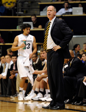 "University of Colorado Head Coach Tad Boyle yells to his players during a game against the Wofford Terriers on Friday, Nov. 9, at the Coors Event Center on the CU campus in Boulder. For more photos of the game go to  <a href=""http://www.dailycamera.com"">http://www.dailycamera.com</a><br /> Jeremy Papasso/ Camera"