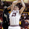 Arizona State center Ruslan Pateev, right, of Russia, and Colorado guard Jeremy Adams, left, try to grab a rebound in the second half of an NCAA college basketball game Saturday, Feb. 11, 2012, in Tempe, Ariz. Colorado won 63-49. (AP Photo/Paul Connors)