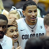 "Askia Booker, left, and Andre Roberson, of CU, are happy about the close win over Arizona on Saturday.<br /> For more photos of the game, go to  <a href=""http://www.dailycamera.com"">http://www.dailycamera.com</a>.<br /> January 21, 2012 / Cliff Grassmick"