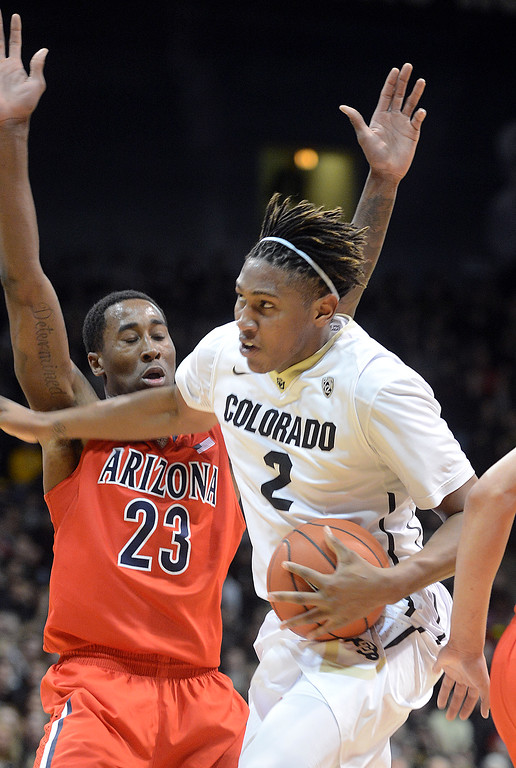 . Xavier Johnson of CU drives around Rondae Hollis-Jefferson  of Arizonaduring the first half of the February 22, 2014 game in Boulder, Colo.  Cliff Grassmick / February 22, 2014
