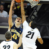 """Andre Roberson (21) of CU blocks the shot of David Kravish of Cal<br /> during the first half of the February 26, 2012 game in Boulder.<br /> For more photos of the game, go to  <a href=""""http://www.dailycamera.com"""">http://www.dailycamera.com</a>.<br /> February 26, 2012 / Cliff Grassmick"""