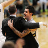 "Tad Boyle has a big hug for senior Nate Tomlinson at the end<br />  of the February 26, 2012 game in Boulder.For more photos of the game, go to  <a href=""http://www.dailycamera.com"">http://www.dailycamera.com</a>.<br /> February 26, 2012 / Cliff Grassmick"