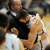 "Tad Boyle has a big hug for senior Austin Dufault near the end <br /> of the February 26, 2012 game in Boulder.<br /> For more photos of the game, go to  <a href=""http://www.dailycamera.com"">http://www.dailycamera.com</a>.<br /> February 26, 2012 / Cliff Grassmick"