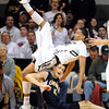"""Andre Roberson of CU falls over David Kravish of Cal<br /> during the first half of the February 26, 2012 game in Boulder.<br /> For more photos of the game, go to  <a href=""""http://www.dailycamera.com"""">http://www.dailycamera.com</a>.<br /> February 26, 2012 / Cliff Grassmick"""