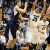 """Spencer Dinwiddie of CU puts up a shot past David Kravish of Cal<br /> during the first half of the February 26, 2012 game in Boulder.<br /> For more photos of the game, go to  <a href=""""http://www.dailycamera.com"""">http://www.dailycamera.com</a>.<br /> February 26, 2012 / Cliff Grassmick"""