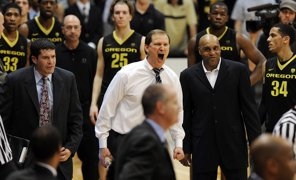 """Oregon head coach, Dana Altman, center, is upset with  a foul called near the end of the game with Colorado. Colorado hit one free throw to win the game 72-71.<br /> For more photos of the game, go to  <a href=""""http://www.dailycamera.com"""">http://www.dailycamera.com</a>.<br /> February 4, 2012 / Cliff Grassmick"""