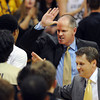 """CU Coach Tad Boyle has high fives all around after the win over Oregon.<br /> For more photos of the game, go to  <a href=""""http://www.dailycamera.com"""">http://www.dailycamera.com</a>.<br /> February 4, 2012 / Cliff Grassmick"""