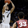 "University of Colorado's Askia Booker takes a shot in front of Dwight Powell during a game against Stanford on Thursday, Jan. 24, at the Coors Event Center on the CU campus in Boulder. For more photos of the game go to  <a href=""http://www.dailycamera.com"">http://www.dailycamera.com</a><br /> Jeremy Papasso/ Camera"