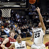 "University of Colorado's Sabatino Chen takes a shot during a game against Stanford on Thursday, Jan. 24, at the Coors Event Center on the CU campus in Boulder. For more photos of the game go to  <a href=""http://www.dailycamera.com"">http://www.dailycamera.com</a><br /> Jeremy Papasso/ Camera"