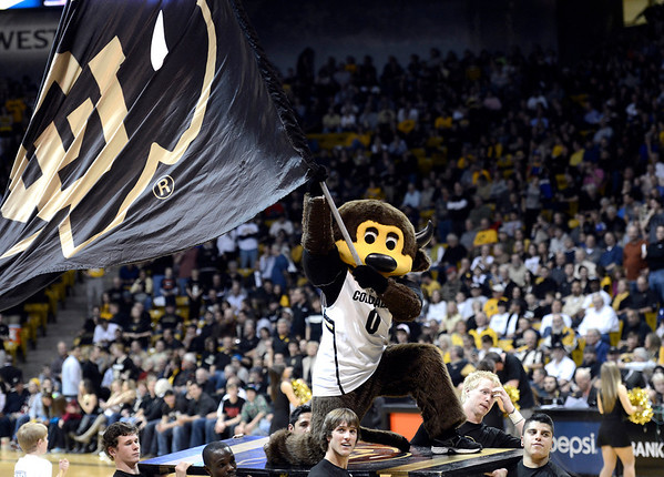 "University of Colorado mascot Chip waves the CU flag at the fans during a game against Stanford on Thursday, Jan. 24, at the Coors Event Center on the CU campus in Boulder. For more photos of the game go to  <a href=""http://www.dailycamera.com"">http://www.dailycamera.com</a><br /> Jeremy Papasso/ Camera"