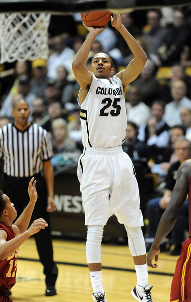 Spencer Dinwiddie of CU shoots a jumper during the second half of the January 10, 2013 game in Boulder.<br /> Cliff Grassmick / January 10, 2013
