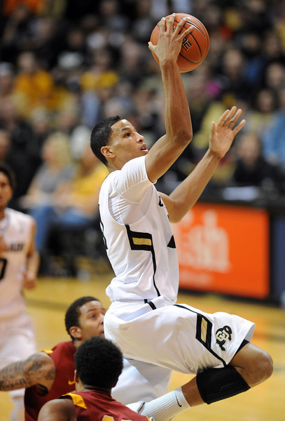 Andre Roberson of CU scores on a break away against USC during the second half of the January 10, 2013 game in Boulder.<br /> Cliff Grassmick / January 10, 2013