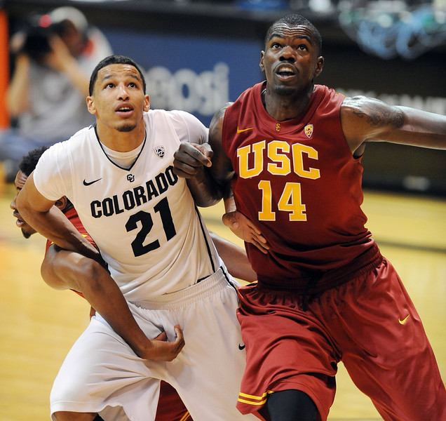 Andre Roberson  of CU battles with DeWayne Dedmon of USC during the second half of the January 10, 2013 game in Boulder.<br /> Cliff Grassmick / January 10, 2013