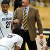 "CU coach Tad Bole was not happy with the officiating during the first half of the December 31, 2001 game in Boulder.<br /> For more photos of the game, go to  <a href=""http://www.dailycamera.com"">http://www.dailycamera.com</a>.<br /> December 31, 2011 / Cliff Grassmick"
