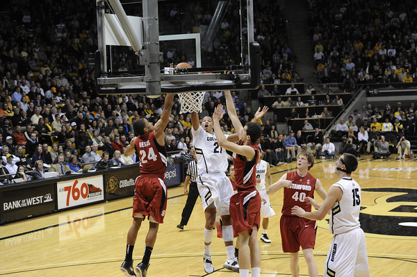 """University of Colorado's past Stanford University's during a basketball game on Thursday, Feb. 23, at the Coors Event Center on the CU campus in Boulder. For more photos of the game go to  <a href=""""http://www.dailycamera.com"""">http://www.dailycamera.com</a><br /> Jeremy Papasso/ Camera"""