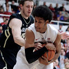 Stanford's Josh Huestis, right, keeps a rebound from Colorado's Shane Harris-Tunks during the first half of an NCAA college basketball game Wednesday, Feb. 27, 2013, in Stanford, Calif. (AP Photo/Ben Margot)