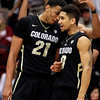 Colorado's Andre Roberson (21) and Askia Booker celebrate during the hinal seconds of an NCAA college basketball game against Stanford Wednesday, Feb. 27, 2013, in Stanford, Calif. (AP Photo/Ben Margot)