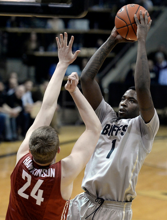 . Colorado\'s Wesley Gordon takes a shot over Josh Hawkinson during an NCAA game against Washington State on Wednesday, Feb. 5, at the Coors Event Center in Boulder.  Jeremy Papasso/ Camera