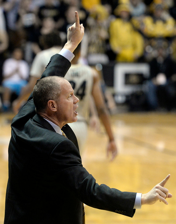 . Colorado head coach Tad Boyle yells to his players during an NCAA game against Washington State on Wednesday, Feb. 5, at the Coors Event Center in Boulder.  Jeremy Papasso/ Camera