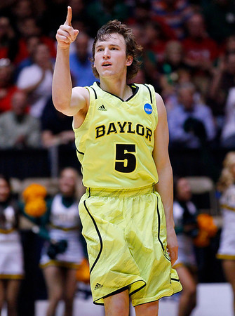NCAA Colorado Baylor Ba(16).JPG Baylor guard Brady Heslip (5) gestures after hitting a three-point basket against Colorado during the first half of an NCAA tournament third-round college basketball game on Saturday, March 17, 2012, in Albuquerque, N.M. (AP Photo/Matt York)