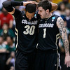 NCAA Colorado Baylor Ba(9).JPG Colorado guard Nate Tomlinson (1) talks with teammate Carlin Brown (30) during the second half of an NCAA tournament third-round college basketball game against Baylor, Saturday, March 17, 2012, in Albuquerque, N.M. Baylor won 80-63. (AP Photo/Matt York)