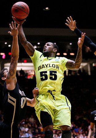 NCAA Colorado Baylor Ba(18).JPG Baylor guard Pierre Jackson (55) shoots over Colorado forward Nate Tomlinson during the first half of an NCAA tournament third-round college basketball game on Saturday, March 17, 2012, in Albuquerque, N.M. (AP Photo/Matt York)