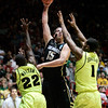NCAA Colorado Baylor Ba(13).JPG Colorado forward Shane Harris-Tunks (15) shoots btween Baylor defenders A.J. Walton (22) and Perry Jones III (1) during the first half of an NCAA tournament third-round college basketball game on Saturday, March 17, 2012, in Albuquerque, N.M. (AP Photo/Jake Schoellkopf)