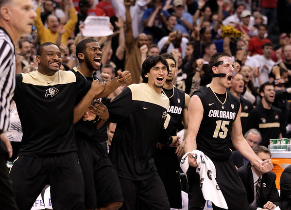 P12 Colorado Arizona Ba(2).JPG Colorado's bench reacts to a play during the second half of an NCAA college basketball game against Arizona in the finals of the Pac-12 conference championship in Los Angeles, Saturday, March 10, 2012. Colorado won 53-51. (AP Photo/Jae C. Hong)