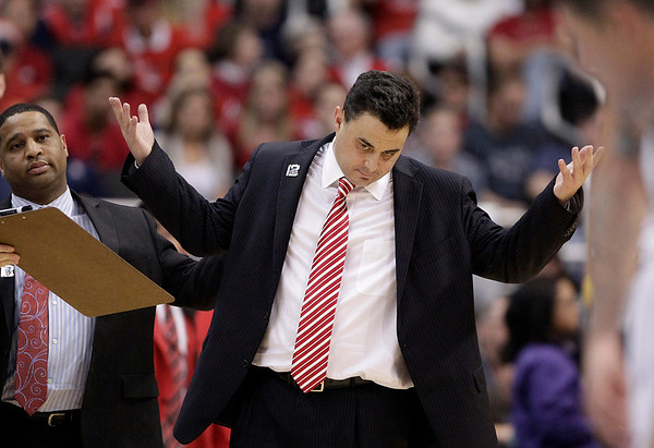 P12 Colorado Arizona Ba(3).JPG Arizona head coach Sean Miller gestures during the first half of an NCAA college basketball game against Colorado in the finals of the Pac-12 conference championship in Los Angeles, Saturday, March 10, 2012. (AP Photo/Jae C. Hong)