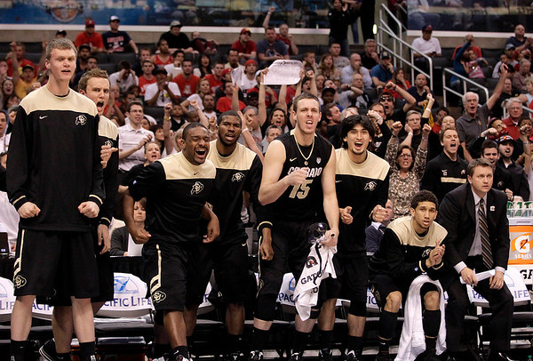 P12 Colorado Arizona Basket.JPG Colorado's bench reacts to a play during the second half of an NCAA college basketball game against Arizona in the finals of the Pac-12 conference championship in Los Angeles, Saturday, March 10, 2012. (AP Photo/Jae C. Hong)