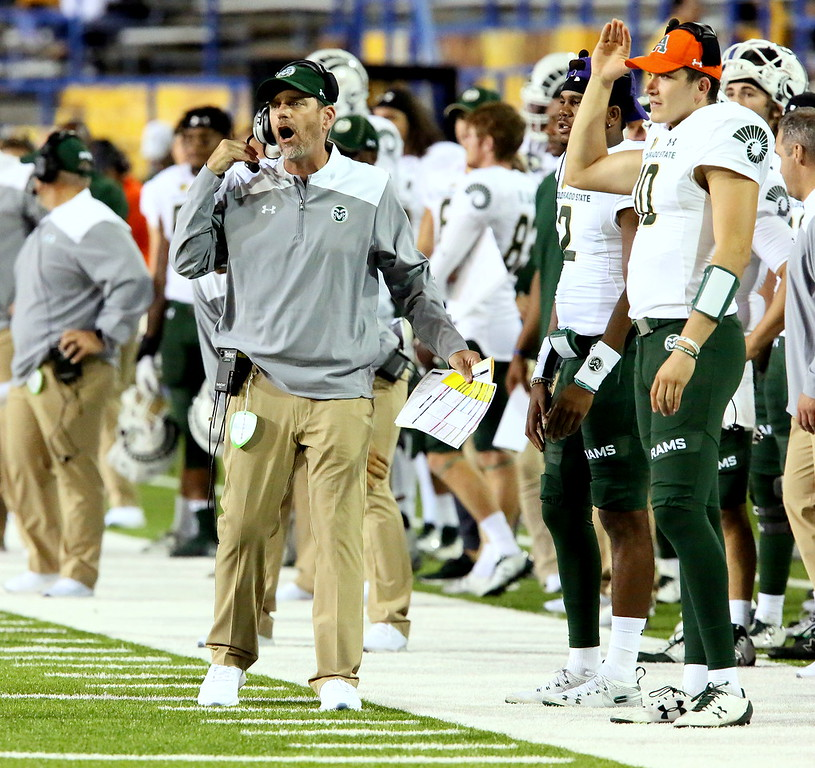 . Colorado State coach Mike Bobo yells out the field during Saturday\'s game with San Jose State at CEFCU Stadium. (Ron Fried/For the Reporter-Herald)