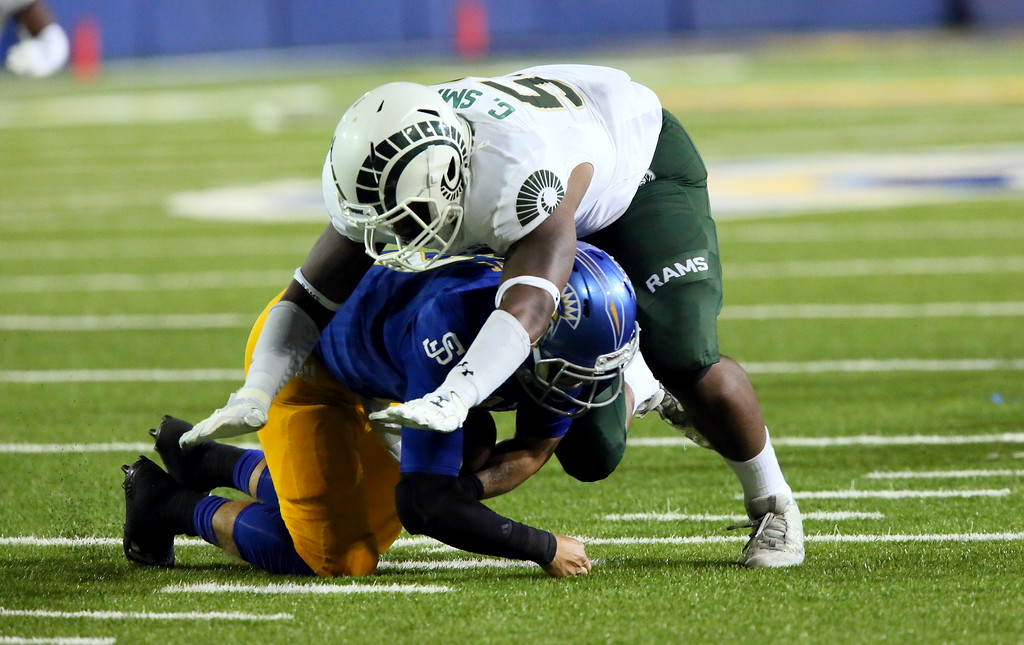 . Colorado State defensive end Caleb Smith sacks San Jose State quarterback Josh Love for a 12-yard loss in the second quarter of  Saturday\'s game  at CEFCU Stadium. (Ron Fried/For the Reporter-Herald)