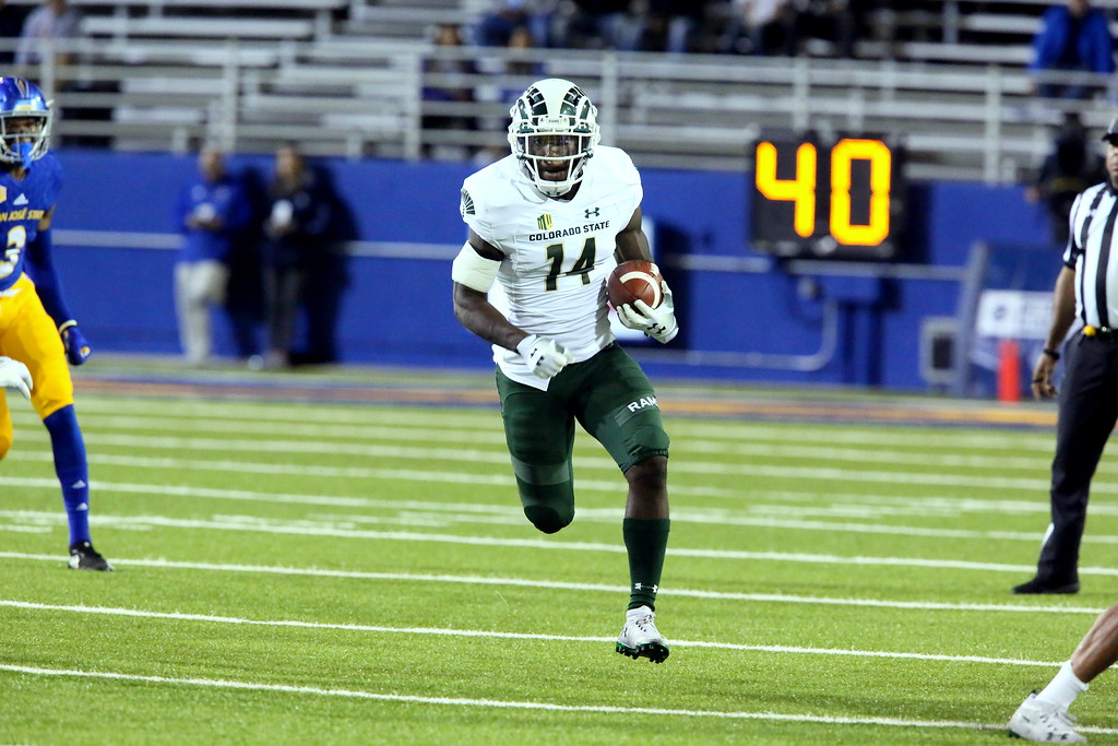 . Colorado State added cornerback Anthoy Hawkins to the offensive mix, with Hawkins getting two carries in the game on reverses, gaining 25 yards on this run during Saturday\'s game with San Jose State at CEFCU Stadium. (Ron Fried/For the Reporter-Herald)