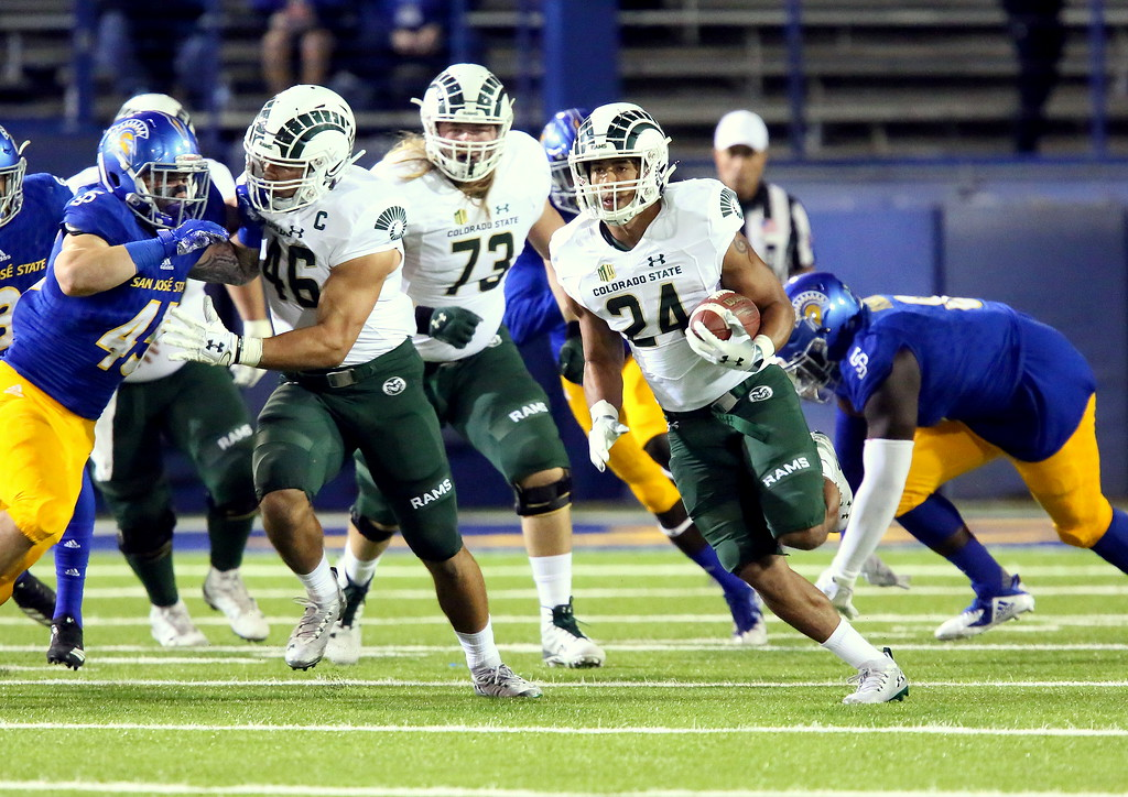 . Colorado State running back Izzy Matthews breaks out into the open during Saturday\'s game with San Jose State at CEFCU Stadium. (Ron Fried/For the Reporter-Herald)