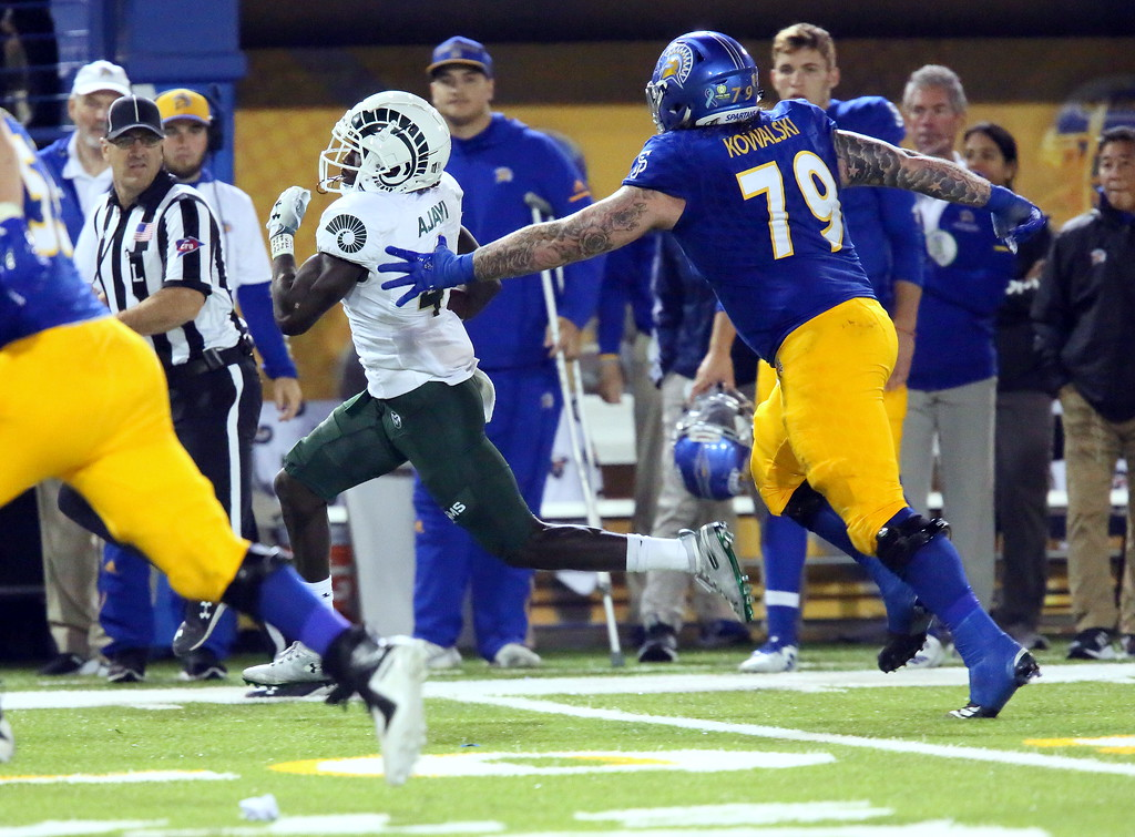 . Colorado State\'s Rashad Ajayi turns the corner on his way to a 55-yard interception return for a touchdown in Saturday\'s 42-30 win over San Jose State. (Ron Fried/For the Reporter-Herald)