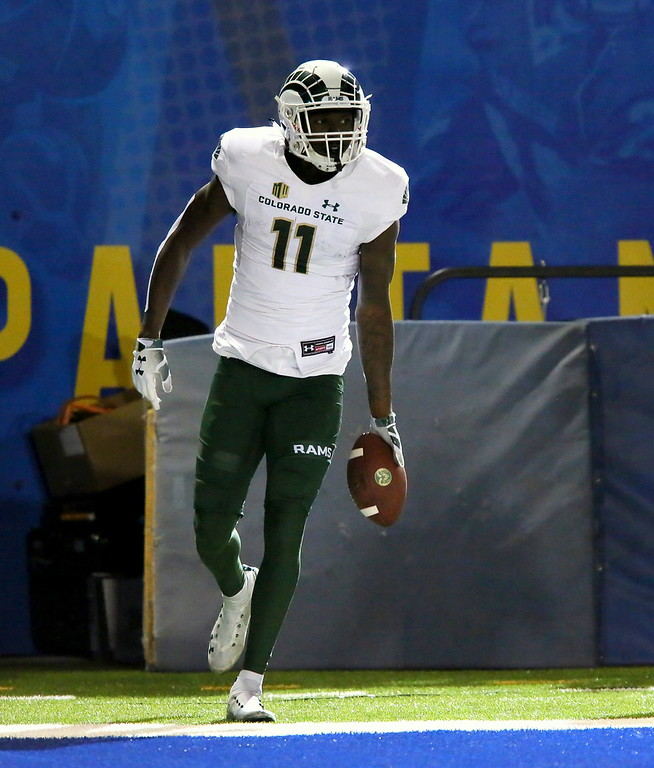 . Colorado State receiver Preston Williams celbrates the first of his two touchdown receptions during Saturday\'s game with San Jose State at CEFCU Stadium. (Ron Fried/For the Reporter-Herald)