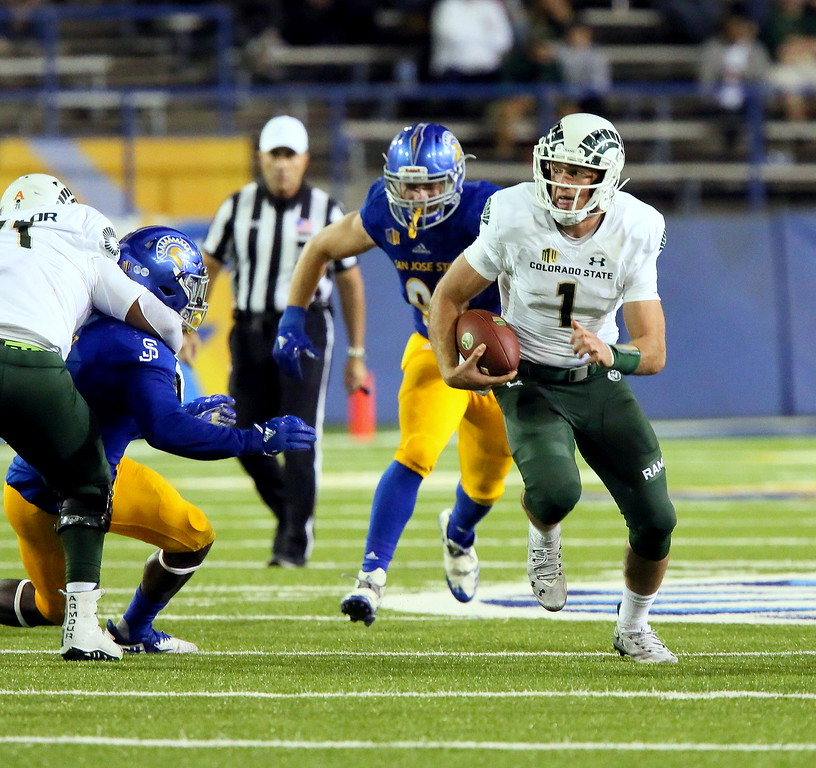 . Colorado State quarterback K.J. Carta-Samuels takes off on a quarterback draw during Saturday\'s game with San Jose State at CEFCU Stadium. (Ron Fried/For the Reporter-Herald)