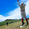 John 'Crush' Sumner jumps for an overthrown ball at first base during the vintage baseball game between the Walker Ranch Boys and The Excelsiors at Walker Ranch in Boulder on July 25.<br /> Greg Lindstrom / The Camera