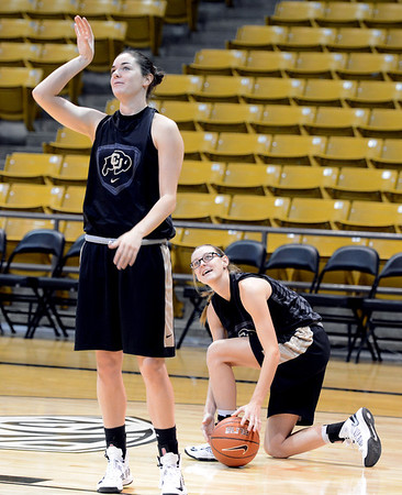 "Meaghan Malcolm-Peck, left, and Lexy Kresl, at the CU media day practice on October 18, 2012.<br /> For more photos and videos of media day, go to  <a href=""http://www.dailycamera.com"">http://www.dailycamera.com</a>.<br /> Cliff Grassmick  / October 18, 2012"