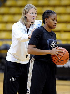 Head coach, Linda Lappe and Brittany Wilson, at the CU media day practice on October 18, 2012. For more photos and videos of media day, go to www.dailycamera.com. Cliff Grassmick  / October 18, 2012