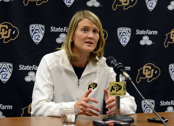"""Head coach, Linda Lappe at the CU media day  on October 18, 2012.<br /> For more photos and videos of media day, go to  <a href=""""http://www.dailycamera.com"""">http://www.dailycamera.com</a>.<br /> Cliff Grassmick  / October 18, 2012"""
