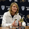 "Head coach, Linda Lappe at the CU media day  on October 18, 2012.<br /> For more photos and videos of media day, go to  <a href=""http://www.dailycamera.com"">http://www.dailycamera.com</a>.<br /> Cliff Grassmick  / October 18, 2012"