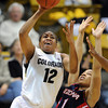Ashley Wilson of Colorado drives on Candice Warthen of Arizona<br /> during the first half of the February 9, 2012 game in Boulder.<br /> <br /> February 9, 2012 / Cliff Grassmick