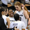"Ashley Wilson, left, and Rachel Hargis of CU, celebrate the win over Arizona during the second half of the February 9, 2012 game in Boulder.<br /> For more photos of the game, go to  <a href=""http://www.dailycamera.com"">http://www.dailycamera.com</a>.<br /> February 9, 2012 / Cliff Grassmick"