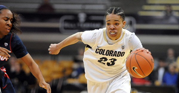 """Chucky Jeffery of CU on the move against Arizona<br /> during the first half of the February 9, 2012 game in Boulder.<br /> For more photos of the game, go to  <a href=""""http://www.dailycamera.com"""">http://www.dailycamera.com</a>.<br /> February 9, 2012 / Cliff Grassmick"""