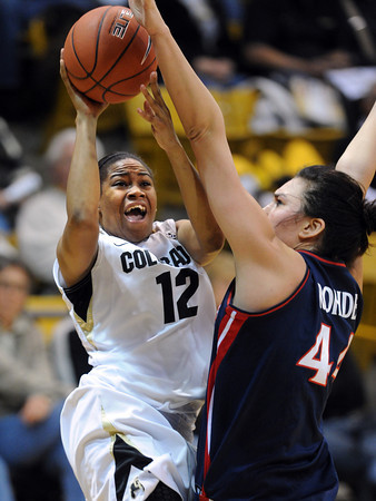 "Ashley Wilson of Colorado drives to the basket on Aley Rohde of Arizona during the first half of the February 9, 2012 game in Boulder.<br /> For more photos of the game, go to  <a href=""http://www.dailycamera.com"">http://www.dailycamera.com</a>.<br /> February 9, 2012 / Cliff Grassmick"