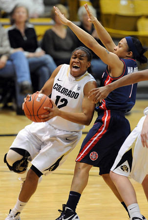 "Ashley Wilson of Colorado drives on Candice Warthen of Arizona<br /> during the first half of the February 9, 2012 game in Boulder.<br /> For more photos of the game, go to  <a href=""http://www.dailycamera.com"">http://www.dailycamera.com</a>.<br /> February 9, 2012 / Cliff Grassmick"