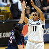 "Brittany Wilson of Colorado shoots over Shanita Arnold of Arizona<br /> during the first half of the February 9, 2012 game in Boulder.<br /> For more photos of the game, go to  <a href=""http://www.dailycamera.com"">http://www.dailycamera.com</a>.<br /> February 9, 2012 / Cliff Grassmick"